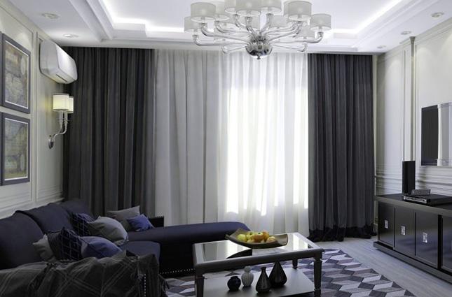 хай тек шторы для гостиной фото